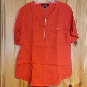 Ellen Tracy S red Linen shirt